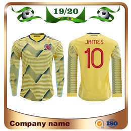 8f37f36f 2019 Colombia Copa America long sleeve soccer jersey 19 20 Home #10 JAMES  #9 FALCAO Soccer Shirts #11 CUADRADO National team football unifor