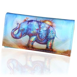 wholesale elephant holders 2019 - New Arrival Standard Women Wallet PU Leather Elephant Lady Purses Hasp Long Coin Purse Cards ID Photo Holder Girls Walle
