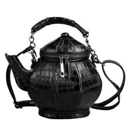 Discount funny phones - Personalized Teapot Shape Shoulder Bag Leather Handbag Women Funny Gothic Party Bag Black Fashion Kettle Female Messenge