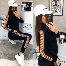 Wholesale womens sweat suits resale online – free shopping Womens Casual Fashion Autumn Spring Long Sleeved Two piece Jogger Set Ladies Fall Tracksuit Sweat Suits Black Plus Size S XL