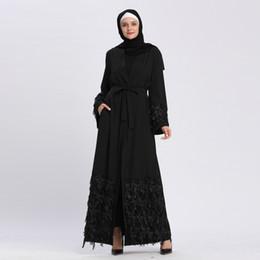 Venta al por mayor de Venta al por mayor de mujeres musulmanas con lentejuelas Abaya abierta con cinturón S-2XL Talla grande Oriente Medio Noche de mujeres Jilbab