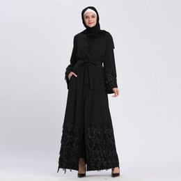 Chinese  Wholesale Muslim Women Sequined Open Abaya with Belt S-2XL Plus Size Middle East Women Evening Party Jilbab manufacturers