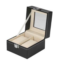 Glasses Boxes NZ - Luxury 2 Slot Watch Storage Box Organizer Glass Top PU Leather Watch Display Case Jewelry Cabinet