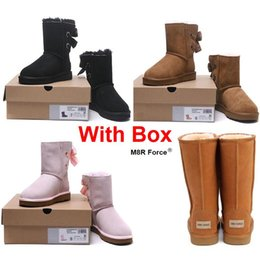 Genuine leather cowboy boots online shopping - With Box Snow boots Australia Snow Winter Leather girl classic Women classic Maroon pink black gray fashion