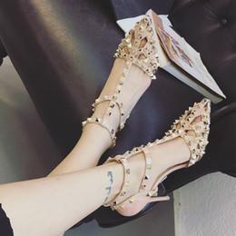 $enCountryForm.capitalKeyWord Australia - Hollow sexy T-strap rivets designer high heels sandals pointed toe patent leather 9.5cm women black nighclub punk shoes size 35-39