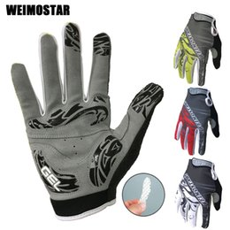 Wholesale Weimostar Cycling Gloves Shockproof Gel padded Bike Glove Men Bicycle Full Finger Gloves Women MTB Racing Brand White