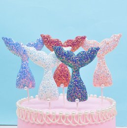 $enCountryForm.capitalKeyWord Australia - Creative Pearl Fish Tail Cake baking Insert Card Sequins Mermaid Tail Birthday Party Supplies 5 Color Cake Little gift Ornament