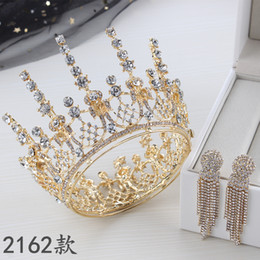princess birthday party plates Canada - Bridal Crowns Flower Bride Hair Jewelry Crystal Tiara Princess Crown Wedding Tiaras Hair Accessories Baroque Birthday Party Tiaras Earring