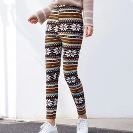 thick warm leggings Australia - lady autumn winter warm leggings animal floral deer snow printed thick leggings party chrismas holiday fleece leggings Y200328