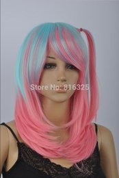 $enCountryForm.capitalKeyWord Australia - WIG LL Wholesale price >>New Pink & Lake blue Mixed Straight Short Cosplay Wig