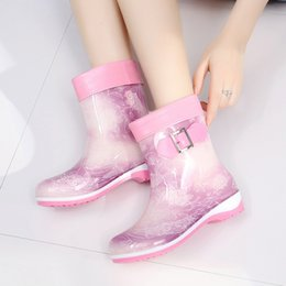 Wholesale Hot Sale- cute rain boots winter warm half boots casual big size 36-41 waterproof jelly rubber shoes slip on ladies female work footwear
