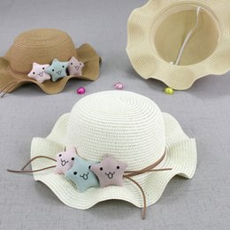 little stars baby wholesale Australia - NEW Little Stars Ruffled Children Straw Hat Baby Summer Outdoor Caps & Hats Accessories Sun Hat Toddlers Cartoon Ripple Edge Cap