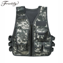 outdoor camping vests UK - Children Tactical Vest Combat CS Game Training Vest Camping Outdoor Waistcoat with Multi Pockets Kids Boys Hunting