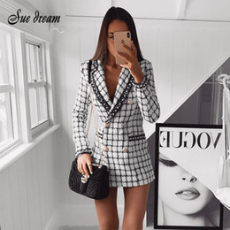 514addf7f2 2018 autumn and winter tweed women's jacket short jacket street lattice  V-neck double row button slim warm coat