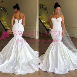 Custom Lace Up Charms Australia - 2019 Charming Spaghetti Wedding Dresses Mermaid Lace Appliques Sweep Train Bridal Gown Custom Made Hot Sale robe de mariée Plus Size