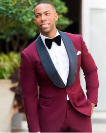 mens button business suit 2019 - Hot Sell Burgundy With Black Shawl Lapel Tuxedos Suits For Weddings Prom Party Business Work Best Mens Groom Mens Weddin