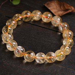 Crystals brazil online shopping - Natural Stones Yellow Brazil Citrine Bracelets Round Beads Bangle Creastly Material Men Women Crystal Jewelry Love Energy Gift