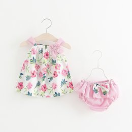 Wholesale Infant Underwear Australia - Baby Girls Dress +underwear Infant Baby Party Dress For Girl First Birthday Baptism Clothes Summer Print Flower Clothes Set Y19050801