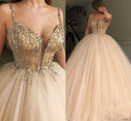 Princess Royal Puffy White Strap Australia - Princess Ball Gown Quinceanera Dresses Spaghetti Straps Beads Sequins Puffy Girls Pageant Gowns Tulle Prom Dress Cheap Graduation Wear