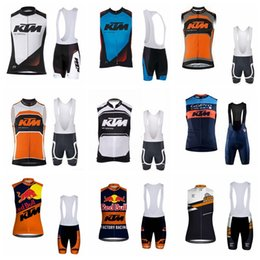 Ktm Clothes Australia - 2019 Ktm Team Cycling Sleeveless Jersey Vest Bib Short Sets Summer Top Riding Bike Set Comfortable Quick Dry Clothes K031901