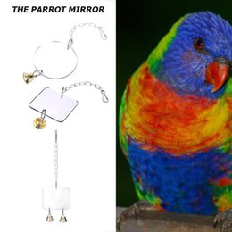 $enCountryForm.capitalKeyWord Australia - Wood Pet Birds Parrots Toy With Bell Stand Double Side Mirror Hang On Cage Swing Play Bird Supplies