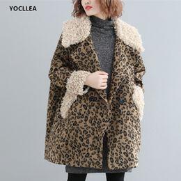 Discount ladies woolen clothes - Leopard Woolen Jackets Coat Lady Long sleeve Fur Turn down Collar Autumn Midi Jacket Outerwear fashion Tops plus size cl