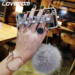 Chains For Mirrors Australia - For iPhone 6 6S Plus 7 7 Plus 5 5S SE DIY Luxury Fur Ball Double Metal Pearl Chain Buckle Soft TPU Mirror Phone Cases
