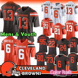 dd90db5f1d2 6 Baker Mayfield 13 Odell Beckham Jr 24 Nick Chubb 27 Kareem Hunt Browns  Jersey 21 Denzel Ward 80 Jarvis Landry 73 Joe Thomas 22 Peppers