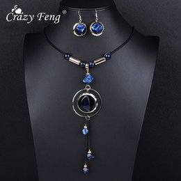 Discount crazy earrings - Crazy Feng Luxury AcrylicWedding Jewelry Sets For Women Red Blue Long Round Tassel Pendant Necklace Drop Earrings Sets G