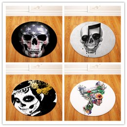 chairs skull Australia - Round Carpets for Living Room Skull Printed Parlor Bedroom Chair Rugs Toilet Bath Decorate Non-slip Door Mat