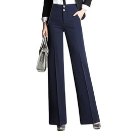 709fe18e790d Fashion Office New Designer Ladies Black Navy Wide Leg Womens Slim Formal  Suits Pants Trousers Q190522
