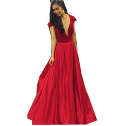 $enCountryForm.capitalKeyWord UK - Red prom dresses 2019 short sleeves evening dress long floor length deep v neck cocktail dress for special occasion