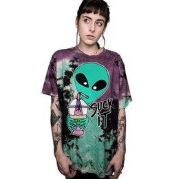 T Shirt Alien Australia - Contrast Color Alien T Shirt Women Summer Tees Tops Harajuku SUCK IT Letter Tees Gothic Tshirts Nice Camiseta Mujer Female Tops