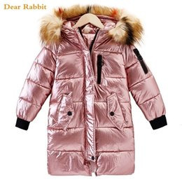 down parkas for kids NZ - 2019 Children Winter jacket Clothes Girl Coats Warm Fur Collar Hooded long down cotton Coats For Kids Outerwear parka clothing CJ191205