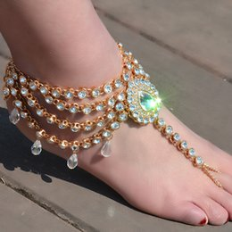 anklet NZ - ashion Jewelry Anklets Ingemark Australia Beach Vacation Water Drop Crystal Pendant Sandals Sexy Chain Female Boho Rhinestone Anklet Stat...