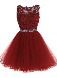 sequin lace short prom dresses Canada - 2020 Burgundy Short Prom Dresses Jewel Neck Sexy Hollow Back Sleeveless Beaded Sequins Lace Applique Above Knee Cocktail Eevening Party Gown