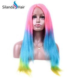 $enCountryForm.capitalKeyWord Australia - Silanda Hair Fashion Ombre Color Pink Light Blue Yellow Straight Brazilian Remy Human Hair Lace Front Full Lace Wigs Free Shipping