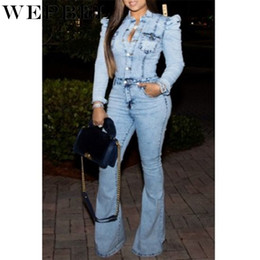 speaker sexy NZ - Weppel Women's One-Piece Denim Jumpsuit Long Sleeve Stretch Slim Sexy Speaker Jumpsuits Denim Rompers Plus Size Streetwear