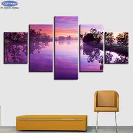$enCountryForm.capitalKeyWord Australia - New Fashion diamond Painting 5 Pieces Purple Sunset Lake Landscape Diamond pictures of Rhinestone mosaic arts Decoration Home