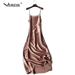 collared mid calf dress UK - Verlena 2018 Plus Size Cool 100% Thick Silk Summer Dress Women Nightgown Black 120cm Long Maxi Dress Sleeveless Strappy Dresses Y19051701
