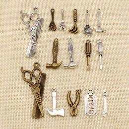 Charm braCelets sCissors online shopping - 50 Pieces Metal Charms Or Bracelet Charms Repair Tools Hammer Brush Scissors Ax HJ116