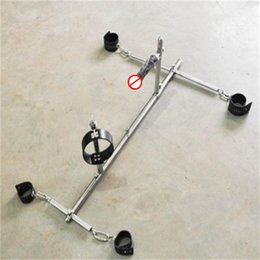 Cuff Device Australia - Stainless Steel SM Bondage Dog training device sex fixed trestle with leather anklet cuffs collar and black dildo harness sex furniture