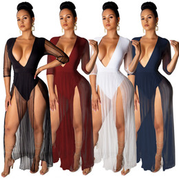 mesh maxi dresses Australia - Fashionable Sexy Deep V Neck Net Yarn Mesh Tulle Half Sleeves Striped High Side Splits A-line Women's Beach Night Club Party Dresses