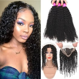curly hair frontal lace closure 2019 - 9A Indian Virgin Human Hair Bundles With Full 360 Lace Frontal Closure Kinky Curly Water Wave 3Bundles With Pre Plucked