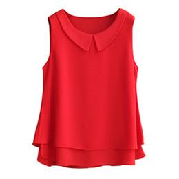 9339318c653689 Women's blouses 2019 New sleeveless Peter pan Collar shirt For Women Chiffon  Blouse Summer Casual Plus size 5XL Female Tops T519053101