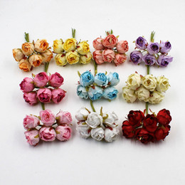 $enCountryForm.capitalKeyWord Australia - 6pcs   Lot High Quality Mini Tea Rose Bud Artificial Flowers For Wedding Home Decoration Wreath Jewelry Scrapbooking Diy Handmad