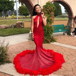 red mermaid cut dress NZ - 2019 Sexy Mermaid Red Feather Prom Dress with Train Sparkly Sequins Appliques Cut-out High Neck African Graduation Party Dresses