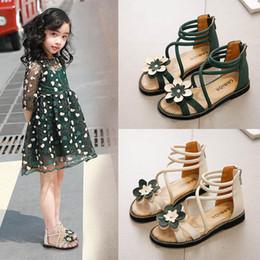Crochet Beach Sandals Australia - Girls Roman Shoes 2019 new Summer floral girls shoes princess kids shoes Beach Girls Sandals Kids Sandals Fashion Gladiator Girl Shoe A3809