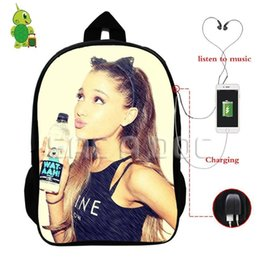 5765b1ff89 Famous Star Ariana Grande Backpack Multifunction USB Charging Headphone  Jack School Bags For Teens Women Men Casual Travel Bags