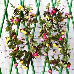Wholesale 2pcs Cute Artificial Fake Silk Rose Flower Hanging Garland Garden Wedding Decoration Home Decor m Ft